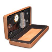 Csonka Travel Cigar Case - Traveller With Accessories - Tobacco Brown